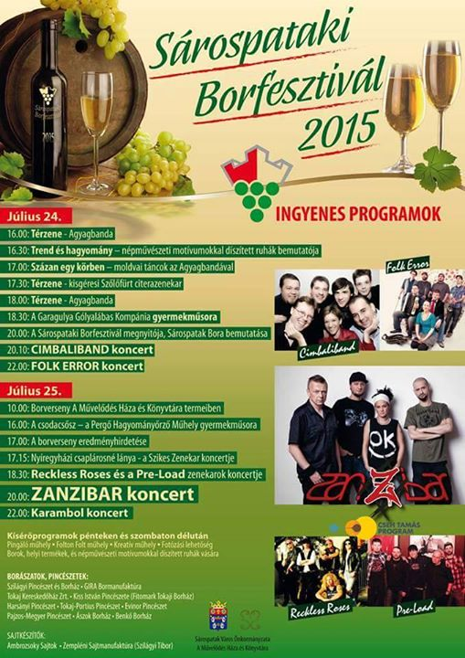 flyer for 2015.07.24-5. Sarospatak wine festival