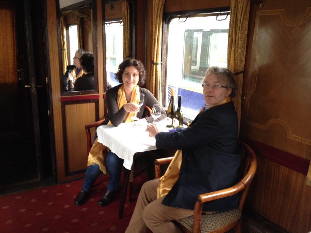 Photo of Confrérie members on Tokaj Express heritage train
