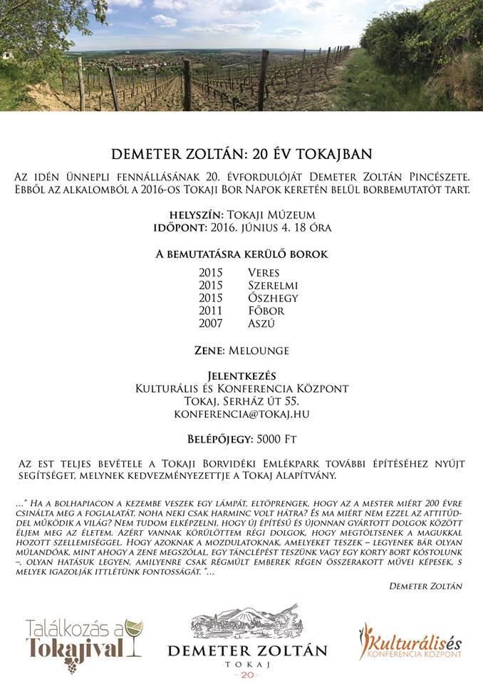 Zoltán Demeter tasting - programme
